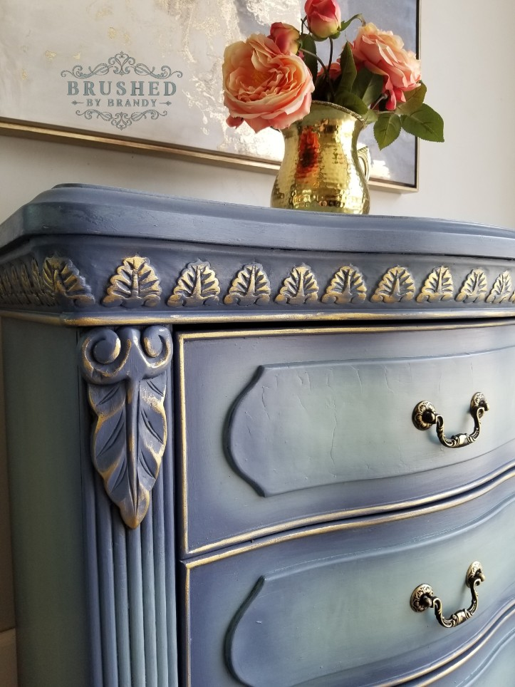 How to blend Chalk Paint on Blue and Gold Side Table