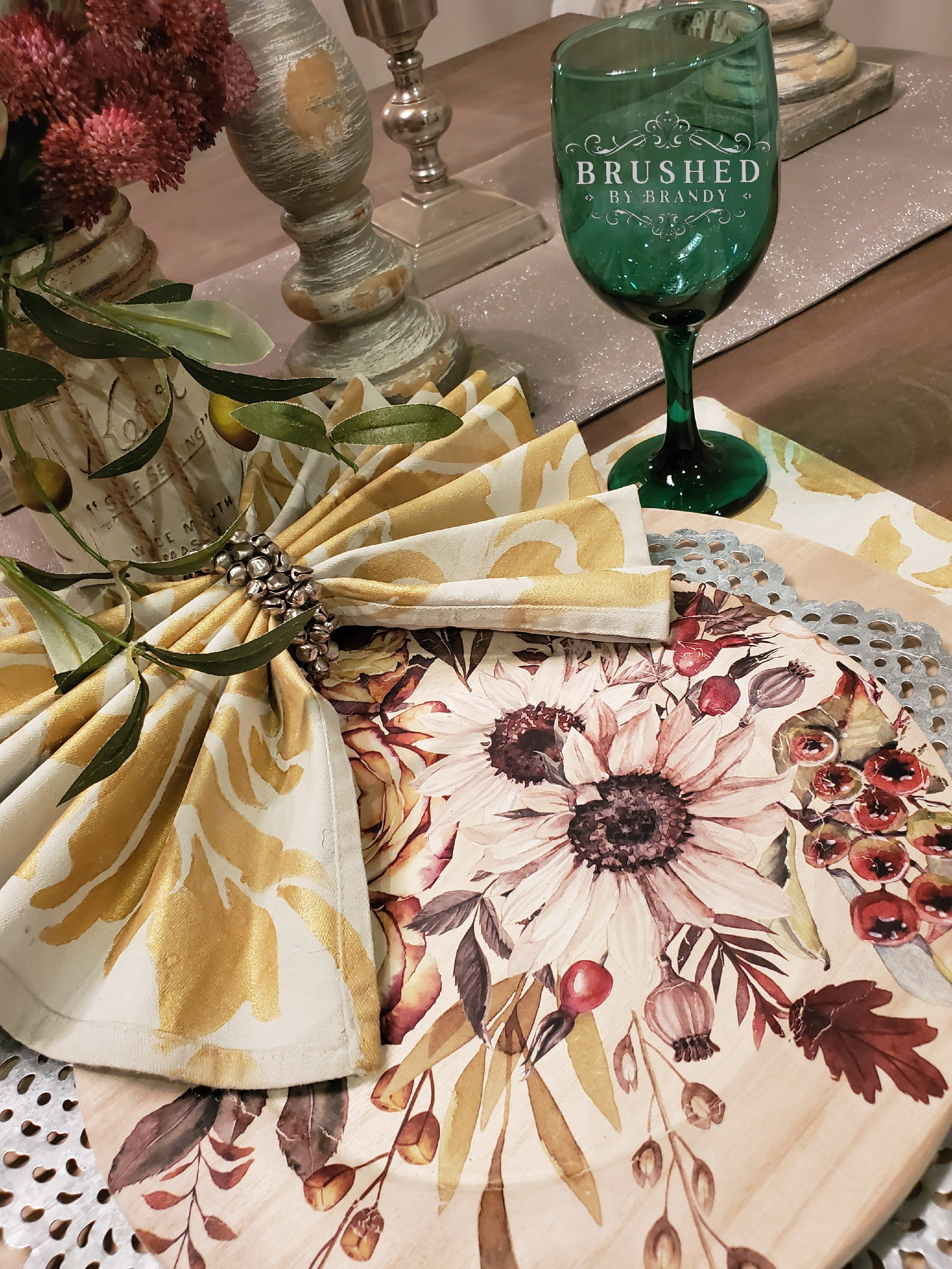 Finished Metallic Painted Fabrics and Wooden Charger for Custom Holiday Table Decor