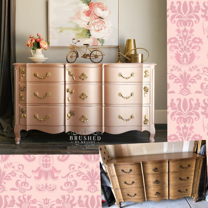 Pink Champagne chest of Drawers before and after brushed by brandy